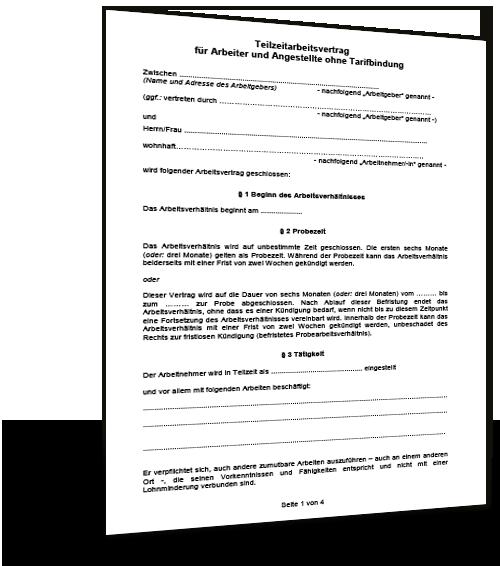 Arbeitsvertrag Teilzeit Muster Musterix