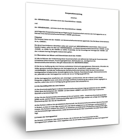 Muster Kooperationsvertrag Pdf Kostenfreier Download