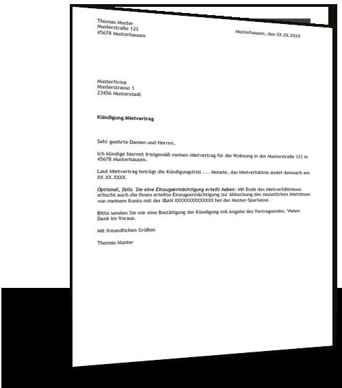 Kündigung Mietvertrag Muster Musterix