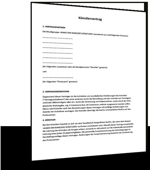 2063940 Engagementvertrag Mit Einer Band Sampling Vertrag Mica