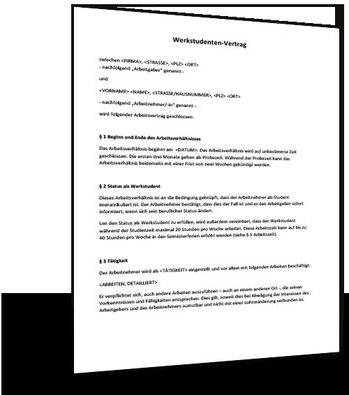 Mustervertrag Werkstudent Musterix